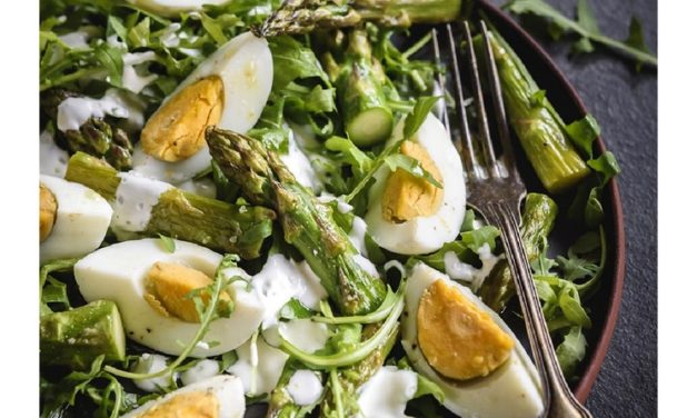 Rocket, Egg and Charred Asparagus Salad